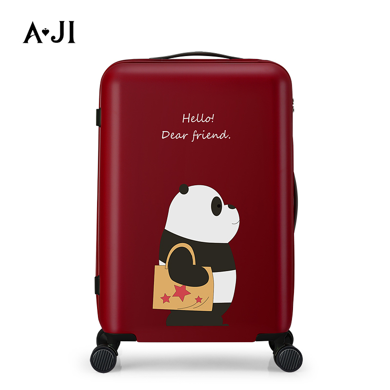 AJI Women Travel Tolley Case Luggage Suitcase Spinner Mute Wheels Rolling Luggage PC Material Carry Ons 20 24 Inch A7009