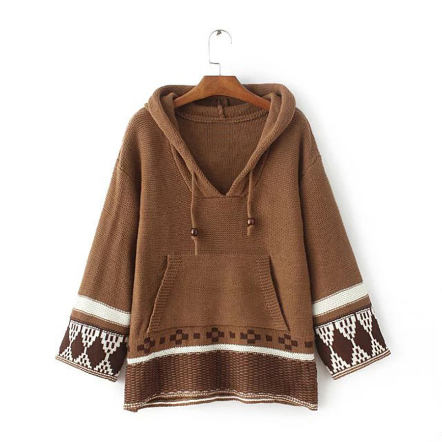 2017 chic boho winter knitted women sweater pullovers ethnic embroidered  Nine point sleeve loose Hippie Bohemia Hooded sweaters -in Pullovers from  Women s ... 229fae307