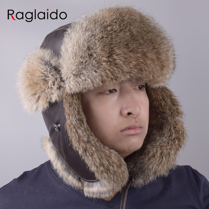 79b176681b6 Raglaido Winter Aviator Hat Men s Bomber Hats made of fur Ear flap Ushanka  Snow Russian Panama Trapper hat LQ11201-in Bomber Hats from Apparel  Accessories ...