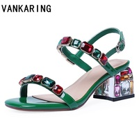 patent leather summer shoes woman sandals fashion rhinestone high heels party dress shoes sexy open toe women ladies red sandals