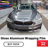 Highest quality Gloss Aluminum Vinyl wrap storm grey Air Bubble metallic pearl wrapping film Germany solvent based adhesive