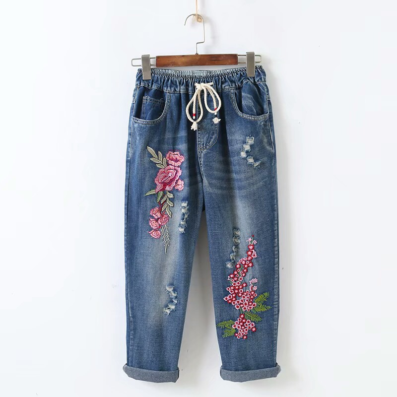 2019 Summer New Female Line Sen Hole Letter Embroidered Flowers Loose Nine Points Jeans Trousers Women