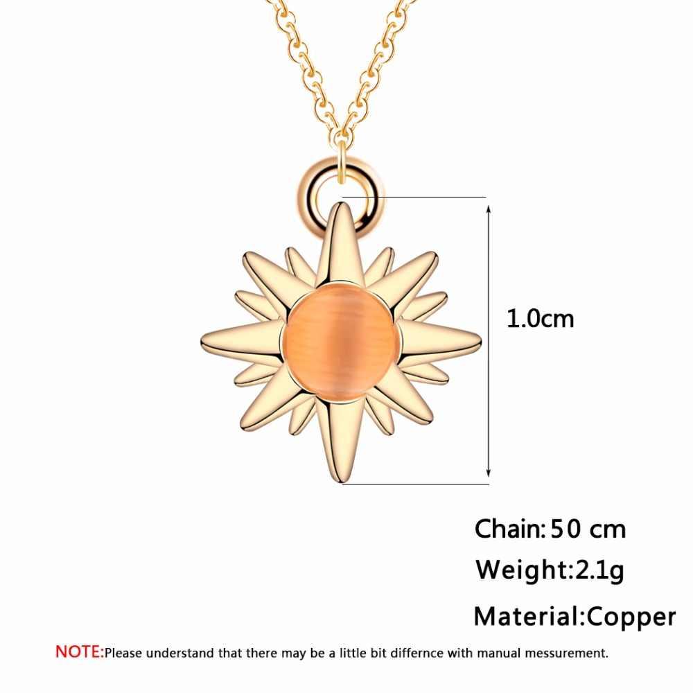 Cxwind Mode Kristall Stein Glück Sonne Blume Gold Farbe Anhänger Halskette für Frauen Aussage Halsketten Vintage-Schmuck Geschenk