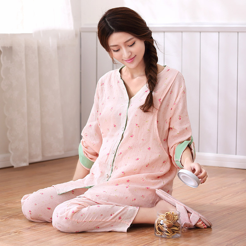 Maternity Nursing Pajamas For Pregnant Women Pyjama Allaitement Nightdress Nursing New Women Cotton 2016 Pajamas Pregnant 60M046