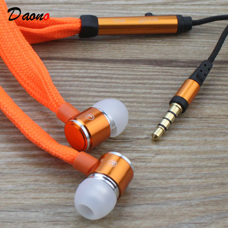 high quality shoelace Headphones metal Headset In-ear Earphone 3.5MM earphone With Mic For