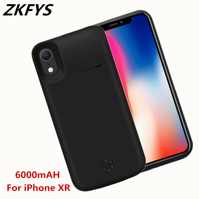 ZKFYS 6000mAh Silicone Shockproof Power Bank Cover For iPhone XR High Quality Fast Charger Back Clip Battery Case