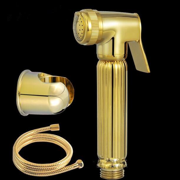 Golden bidet shower kit bathroom gold shattaf brass shower set + 1.5 shower hose+ brass shower holderGolden bidet shower kit bathroom gold shattaf brass shower set + 1.5 shower hose+ brass shower holder