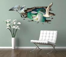 Dolphin whale Jumping Floor 3D sticker Wall Sticker 60*90CM for kids room mural Removable Vinyl wall decals adesivo de parede