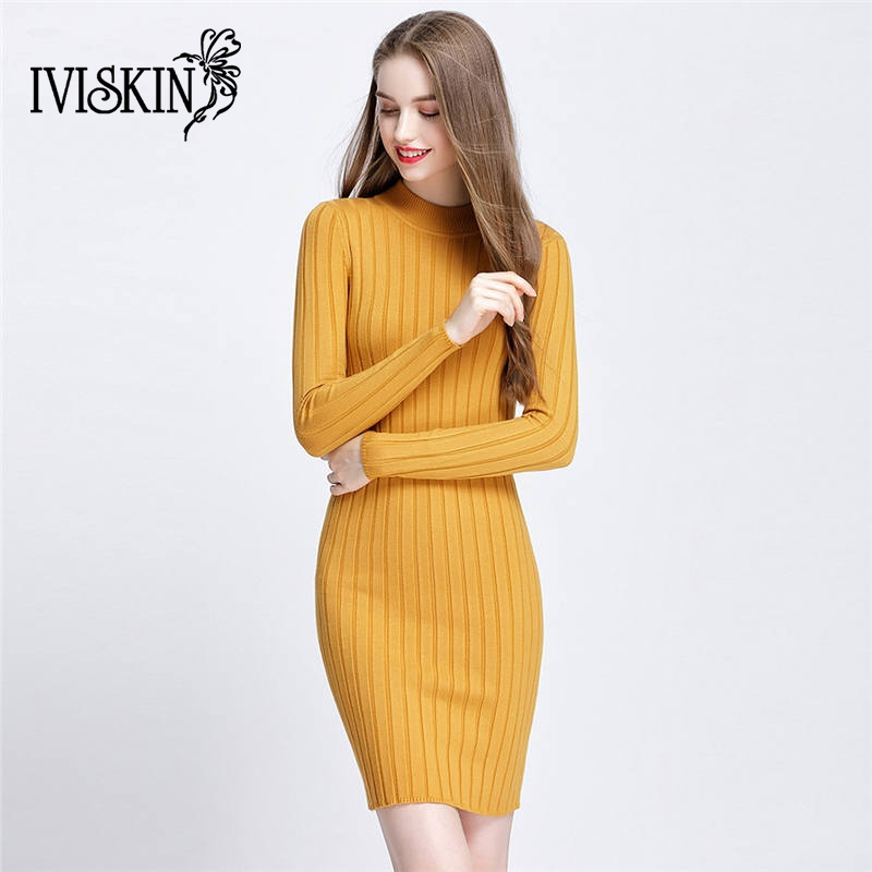 Autumn Winter Women Knitted Dress O-Neck Long Sleeves Ladies Bodycon Dresses Stretchy Elegant Slim Warm Pullover Knitwear multic femme skullies autumn beanies winter warm chapeau women hat female knitted cap ladies bonnet