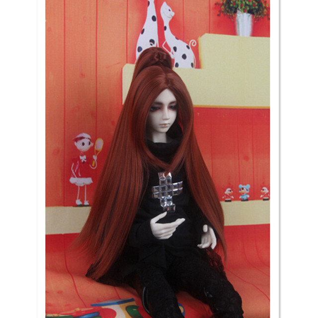 1/3 1/4/16 BJD Парик Длинные Прямые Волосы Куклы Аксессуары для Куклы, Милый Черный Коричневый BJD Куклы Парики Из Синтетических Волос для куклы