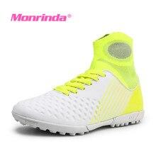Monrinda Women Soccer Shoes Turf Superfly Futsal for Sale Kids Cleats Outdoor Sock Football Boots Men Training Sport Shoe