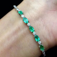 Natural Emerald 100% 925 Sterling Silver Bracelet for Women Vintage Fine Jewelry Wedding Precious Gift for Mother