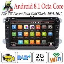 """אוקטה Core Autoradio 2 דין 8 """"אנדרואיד 8.1 DVD לרכב נגן רדיו עבור פולקסווגן/גולף/פאסאט/ פולו/Tiguan/סקודה/פאביה GPS 3G wifi SWC BT"""