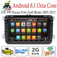 "Octa Core Autoradio 2 din 8"" Android 8.1 Car DVD radio player for VW/Golf/Passat/POLO/Tiguan/Skoda/Fabia GPS 3G wifi SWC BT(China)"
