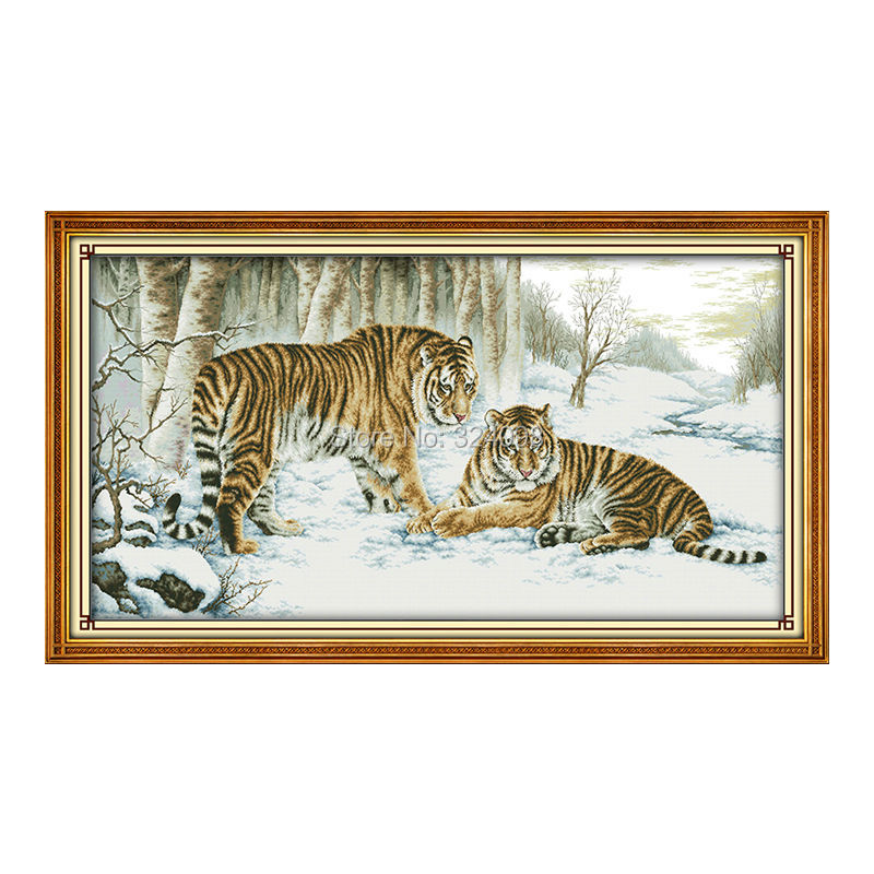 Wholesale Needlework Stitch 11CT 14CT Cross Stitch Sets For Embroidery Kits Tiger Counted Cross Stitching