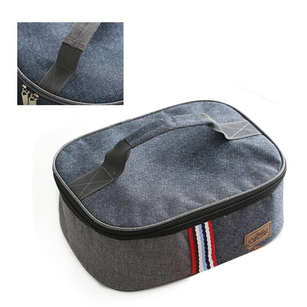 Portable Handbag Oxford Cloth Insulated Lunch Box Cooler Storage Durable Lunch Picnic Sundry Shopping Bag for Work Lunches