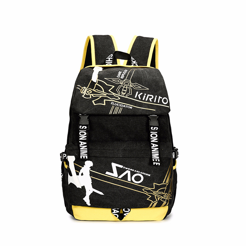 Men Women Boys Girls Japan Anime Kirito SAO Sword Art Online Canvas Backpack Rucksack School Book Laptop Bag Mochila