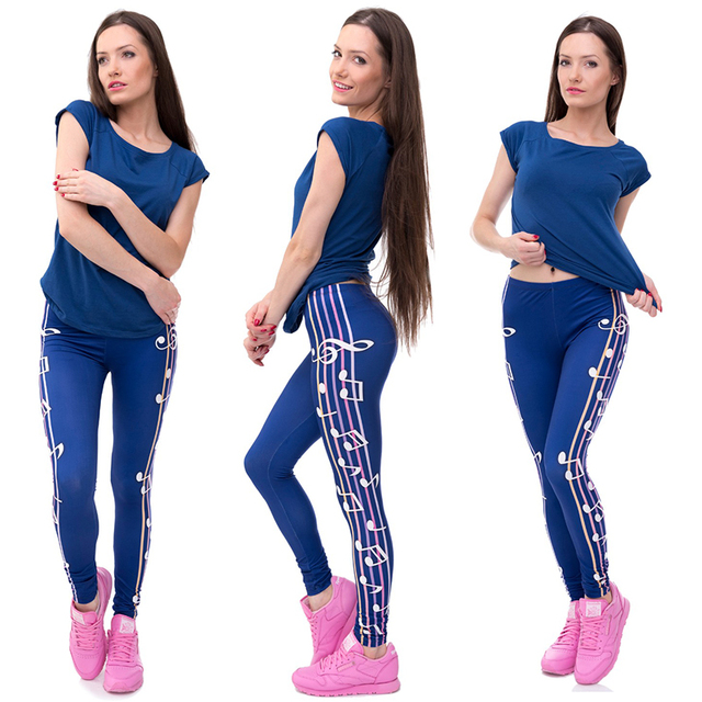 Women Girl Funny Pretty Casual Basic Leggings 3D Musical Notation Printed Female Navy Blue Punk Leggin Legging Pant