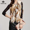 2017 Free Shipping Women Real Fox Fur Vest Winter Gilet new fashion red fox jacket fur Coat outwear waistcoat TP121