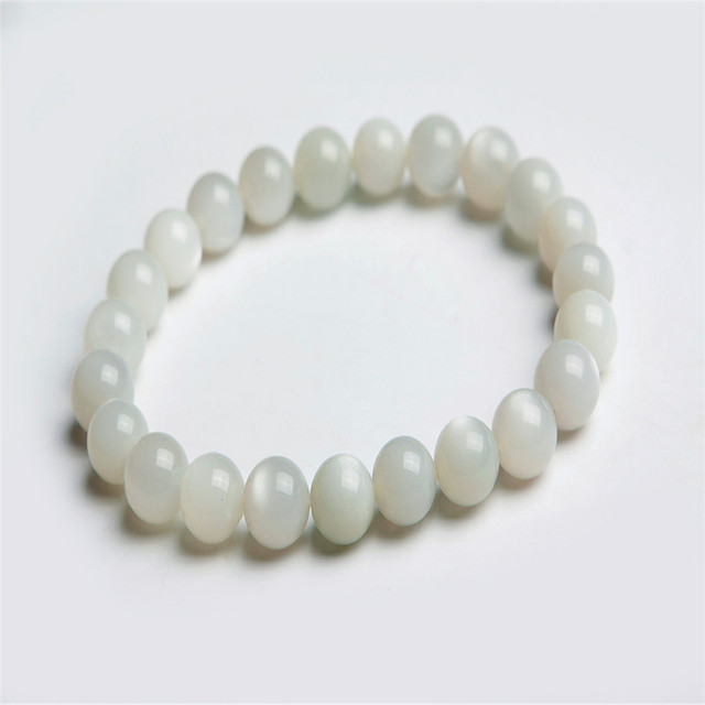 Wholesale 8mm Genuine Natural Moonstone Bracelets For Women Crystal Round Beads Jewelry Stretch Charm Bracelet Femme