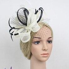 Fascinator de Noiva Bonita Gaze Cocar Flor Cocar Hairpin Cabelo Da Moda Penas Partido Hairpin Headwear