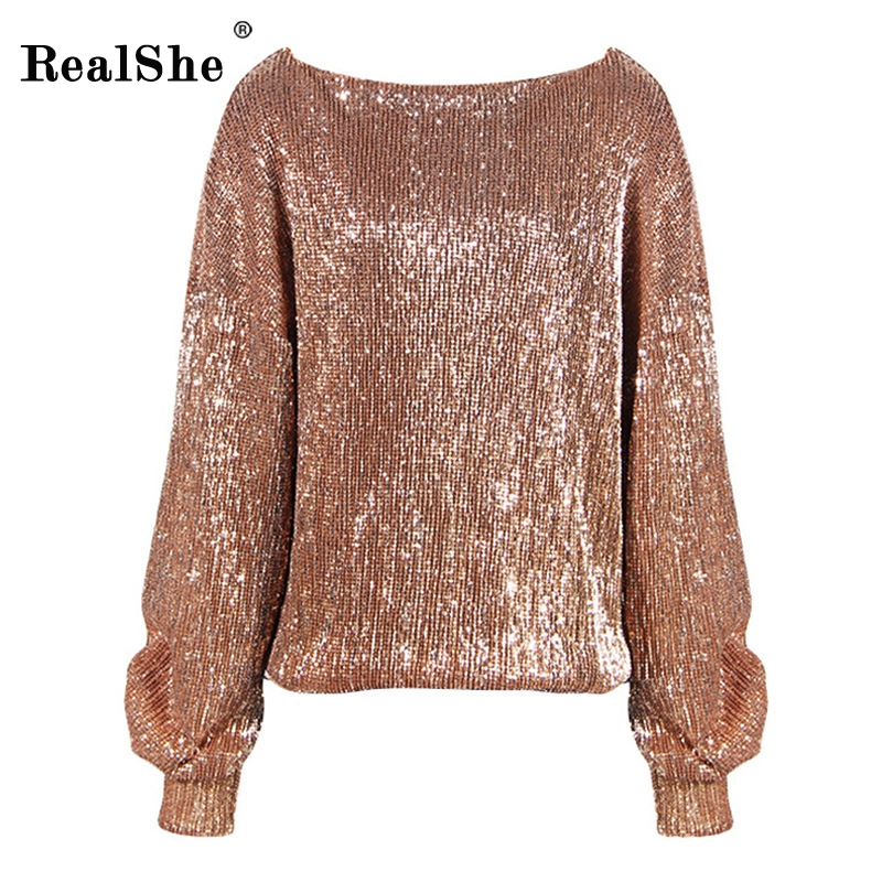 RealShe Women Sequined Hoodies Sweatshirt 2018 Fashion Autumn Long Sleeve Loose Pullovers Tracksuit Lady Tops Women Hoody
