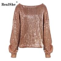 RealShe Women Sequined Hoodies Sweatshirt 2018 Fashion Autumn Long Sleeve Loose Pullovers Tracksuit Lady Tops Women Hoody