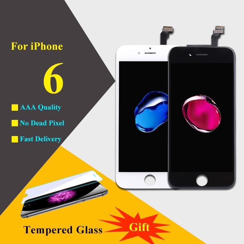 imágenes para AAAAA Para iPhone 6 LCD Pantalla Táctil Digitalizador Asamblea piezas de Repuesto de Teléfono LCD Para iPhone 6 Pantalla Negro Blanco