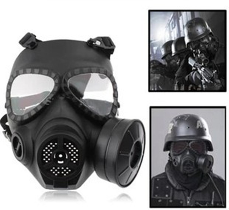 Sincere Cs Military Gas Mask With Transparent Glasses Skull Perspiration Protection With Fan Field Hunting Airsoft Party Masks