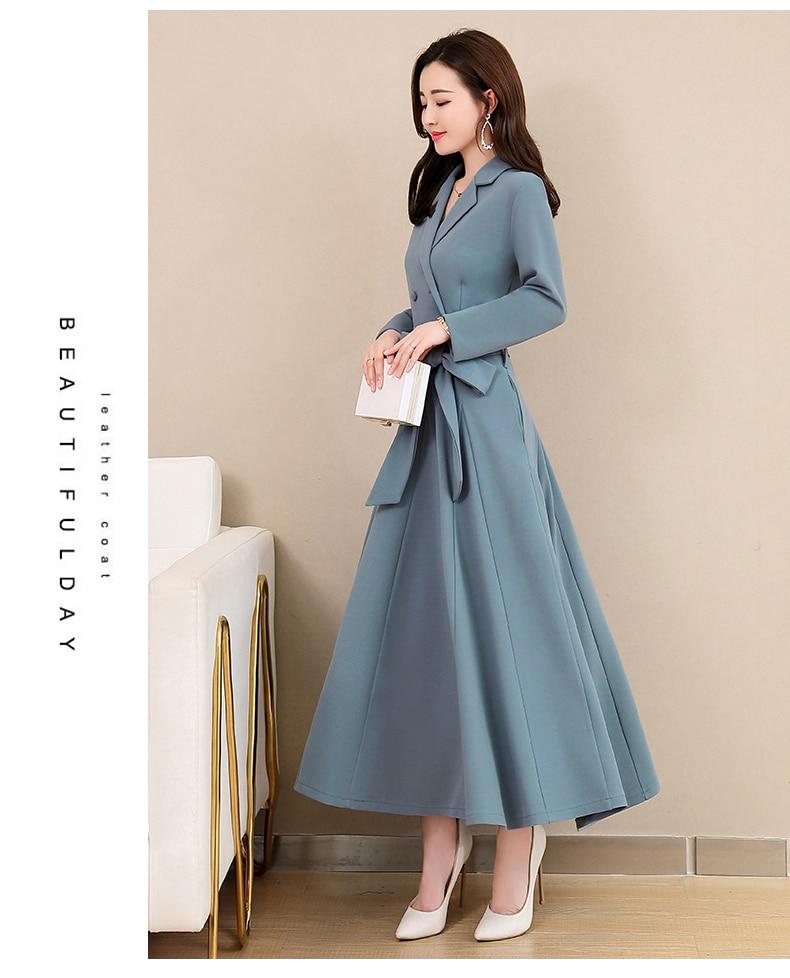 Spring and Autumn 2019 New Women's Dresses Korean Edition Long Sleeve Dresses Overlap Long Popular Temperament with Bottom 123
