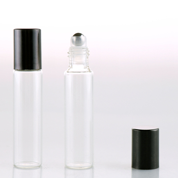 100Pieces/Lot 10ML Travel Transparent Glass Roll on Perfume Bottle For Essential Oils  Empty Cosmetic Vial With Steel Beads