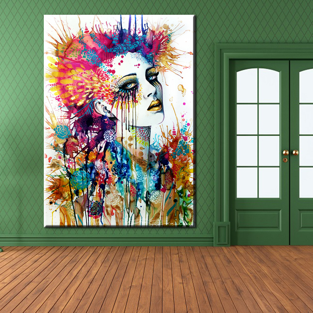 Sticker wall graffiti - Xh107 Unframed Modern Wall Graffiti Art Girl With Flowers Painting Prints On Canvas Pictures Decor For