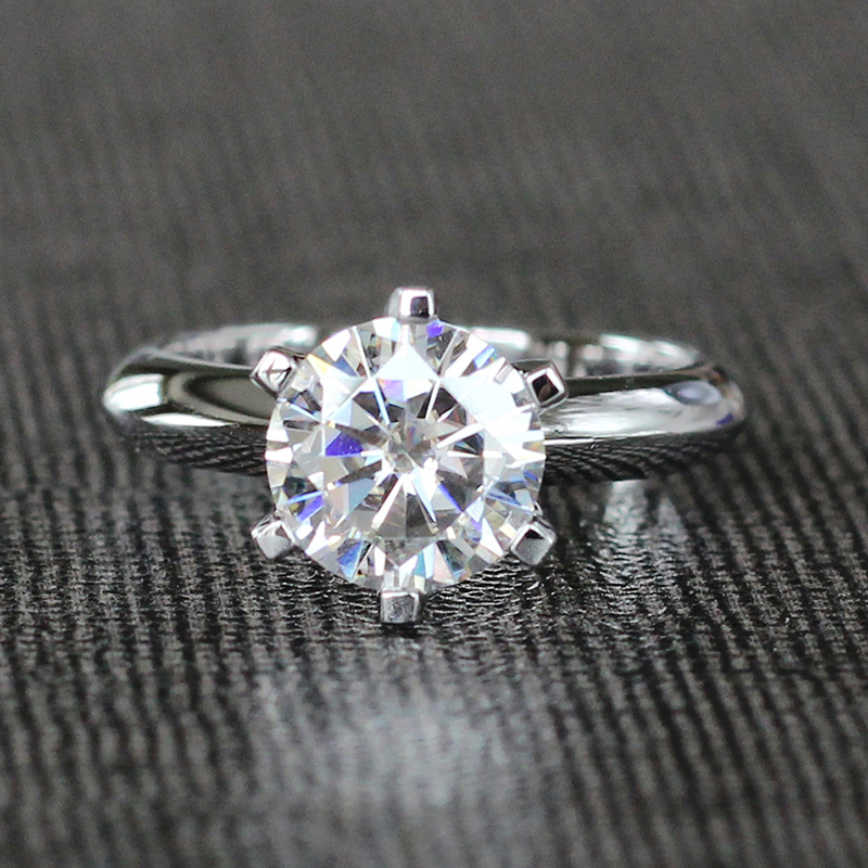 Transgems Solitaire Engagement Ring 14k <font><b>585</b></font> White Gold 1.5ct Carat 7.5mm F Color Moissanite Engagement Ring For Women Wedding image