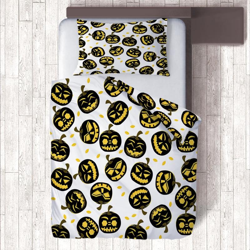 2 Sided Print Black Pumpkin Emoji Halloween Bedding Sets for Kids,2 Piece Single Quilt Set Duvet Cover & Pillow Case Child Bed