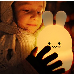 Image 5 - Rabbit LED Night Light Touch Sensor 9 Colors USB Battery Powered Silicone Bunny Bedroom Bedside Lamp for Children Kids Baby Gift