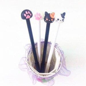 Image 1 - 48 Stks/partij Kawaii Kleine Kat & Poot Gel Pen 0.5Mm Zwart Studentsdiy Tekening Pen Schets Pennen Groothandel Office School levert