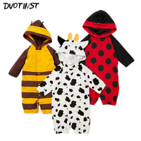 Baby Boys Girls Clothes Full Sleeves Animals Bee Ladybug Cow Rompers Jumpsuit Playsuit Outfit Infantil Kids
