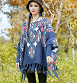 Boho Vintage Tassel Geométrica camisola De Malha poncho mulheres Outwear Corpo Solto pullover Camisolas Das Mulheres puxar femme mujer sweter