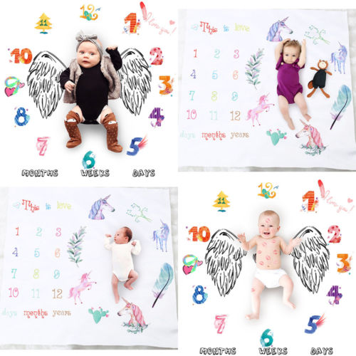 Newborn Baby Kids Number Unicorn Milestone Blanket Photography Photo Prop Shoots