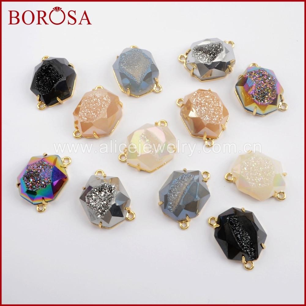BOROSA Fashion 510pcs Gold Color Bezel Claw Heptagon Rainbow Titanium Druzy Faceted Connector for Jewellery  ZG0331