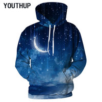 YOUTHUP 2018 Plus Size Spring Hooded Hoodies Men Women Long Sleeve Pullover Sweatshirts 3D Printing Nebula