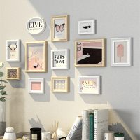 Modern Simple Style Light Color Wall Hanging Picture Frame Set 12pcs Home Decor Wooden Photo Frames Combination Photo Frame