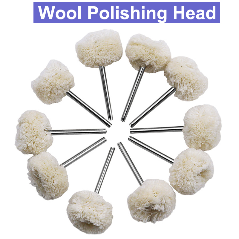 URANN 10Pcs 3.0mm Shank Wool Polishing Head Grinding Jewelry Metals Wheel Wool Buffing Felt Rotary Tool Accessories