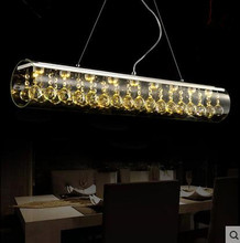 LED 40W  Creative Art bar Dining Room Table Rectangular Glass Crystal Chandeliers