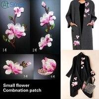 1 Pak (4 Stks) roze bloem kant kraag computer borduurwerk magnolia DIY naai cheongsam accessoires bloem applique patches