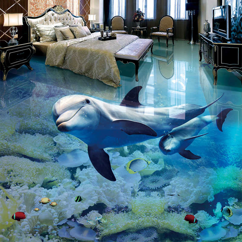Papel De Parede 3D Floor Mural Custom Dolphin Underwater World Wallpaper For Kids Room Bathroom Wear Non-slip Waterproof Sticker
