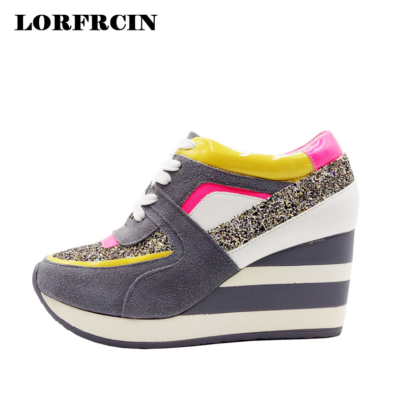 LORFRCIN Women Shoes Autumn Genuine Leather Elevator Platform Wedges Shoes Woman High Increasing Casual Trainers Tenis Feminino