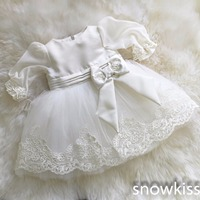 New vintage white/ivory christening gowns for infant baby boy girls toddler lace satin ankle length baptism dress with bonnet