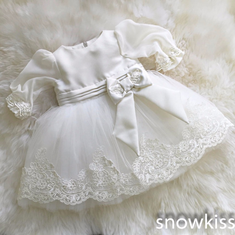 New vintage white/ivory christening gowns for infant baby boy girls toddler lace satin ankle-length baptism dress with bonnet недорого