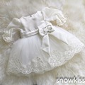 New vintage white/ivory christening gowns for infant baby boy girls toddler lace satin ankle-length baptism dress with bonnet